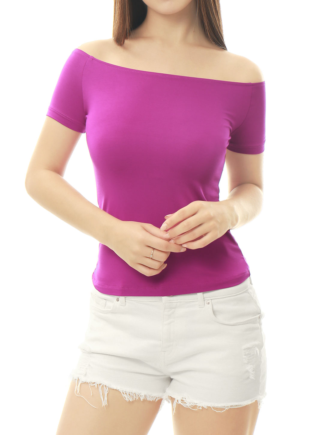 Women Short Sleeves Slim Fit Off the Shoulder Top Violet L