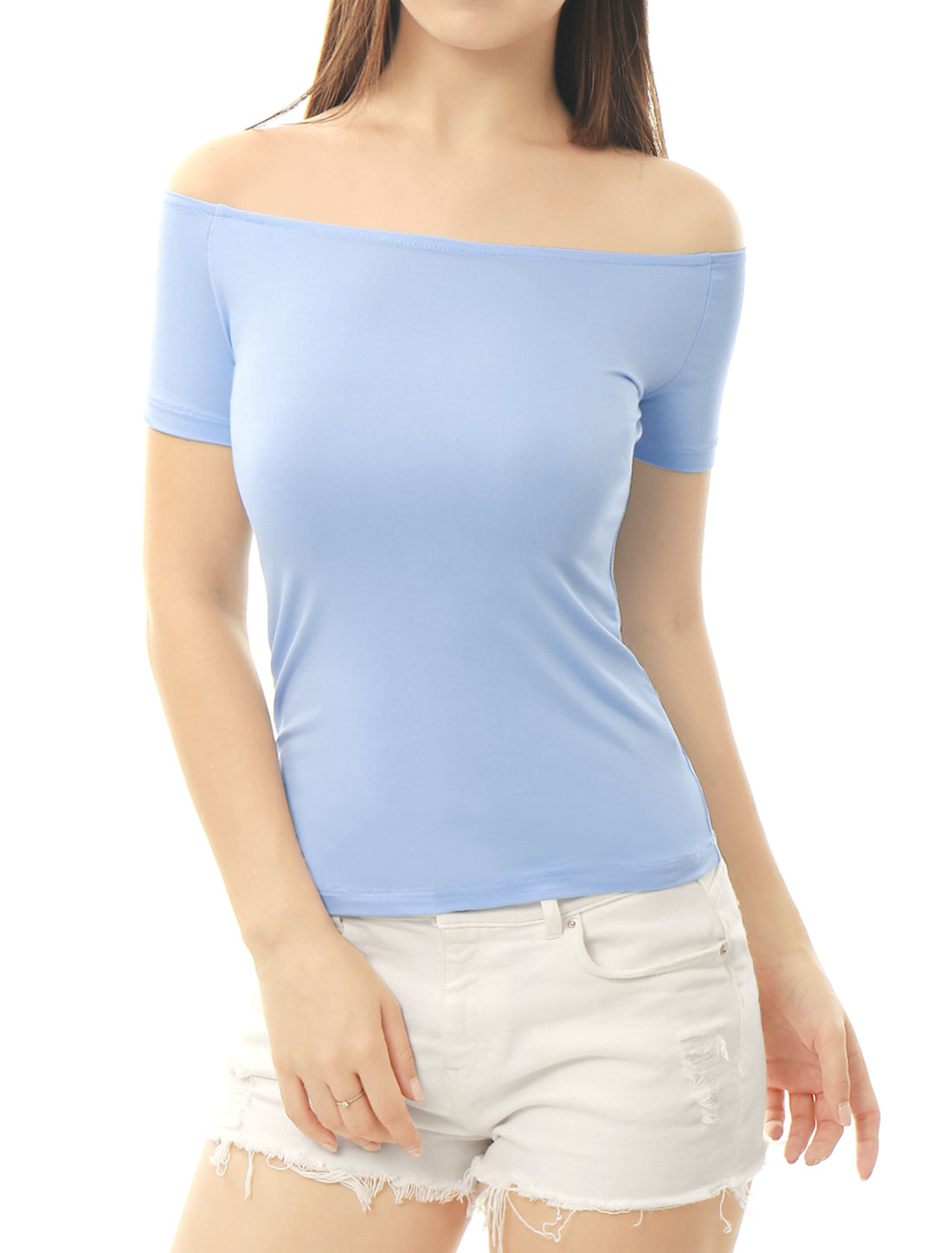 Women Short Sleeves Slim Fit Off the Shoulder Top Light Blue L
