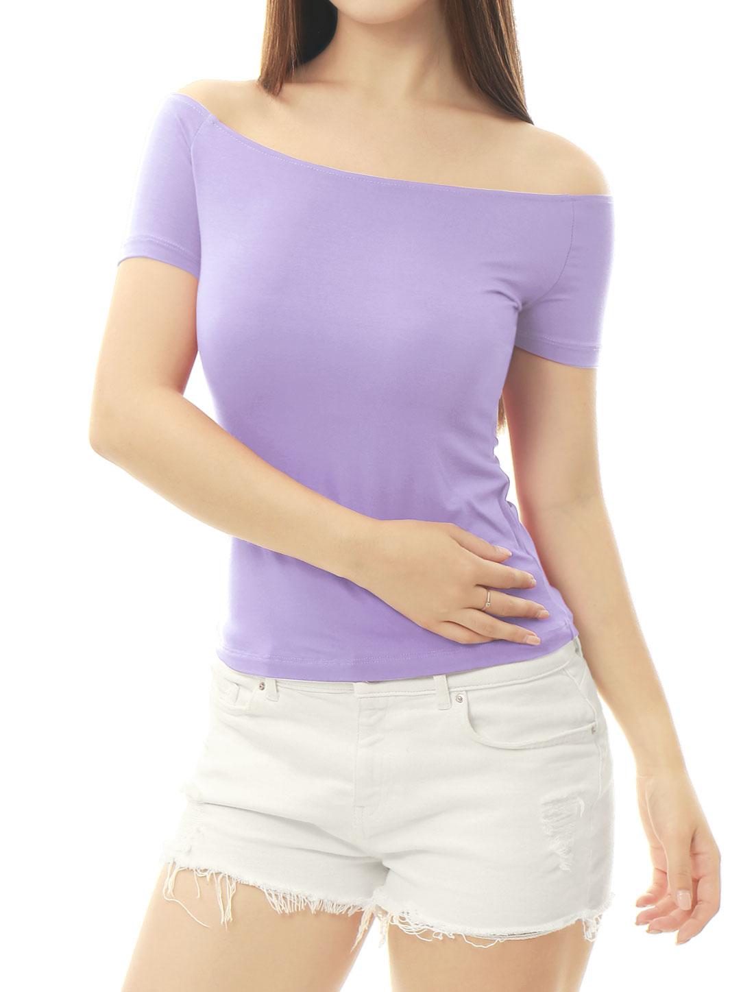 Women Short Sleeves Slim Fit Off the Shoulder Top Lavender XS