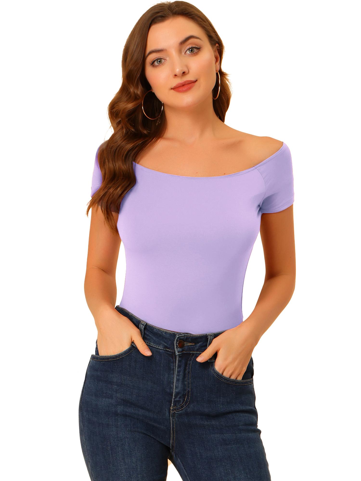 Women Short Sleeves Slim Fit Off the Shoulder Top Lavender M