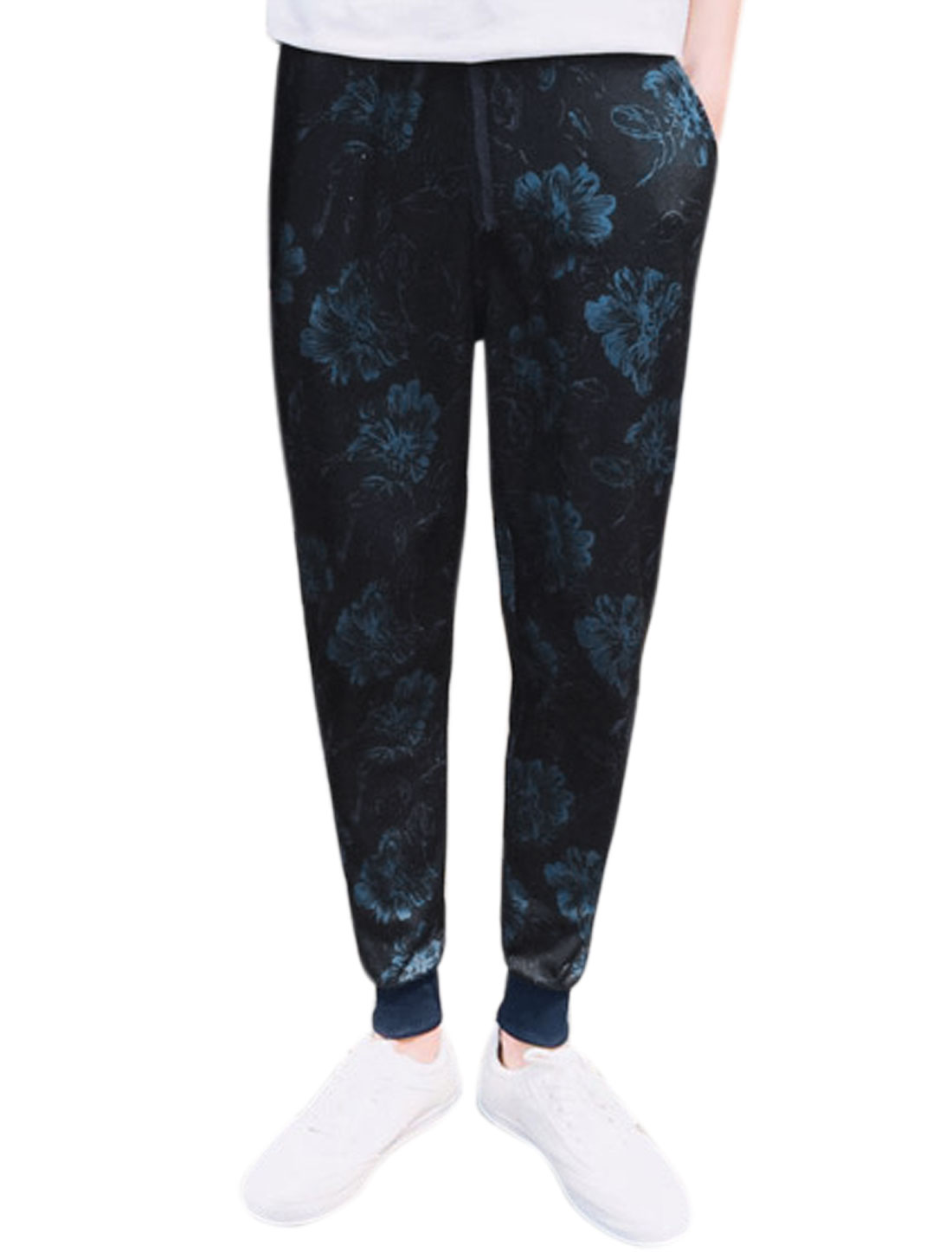 Men Drawstring Elastic Waist Floral Prints Jogger Pants Blue W30