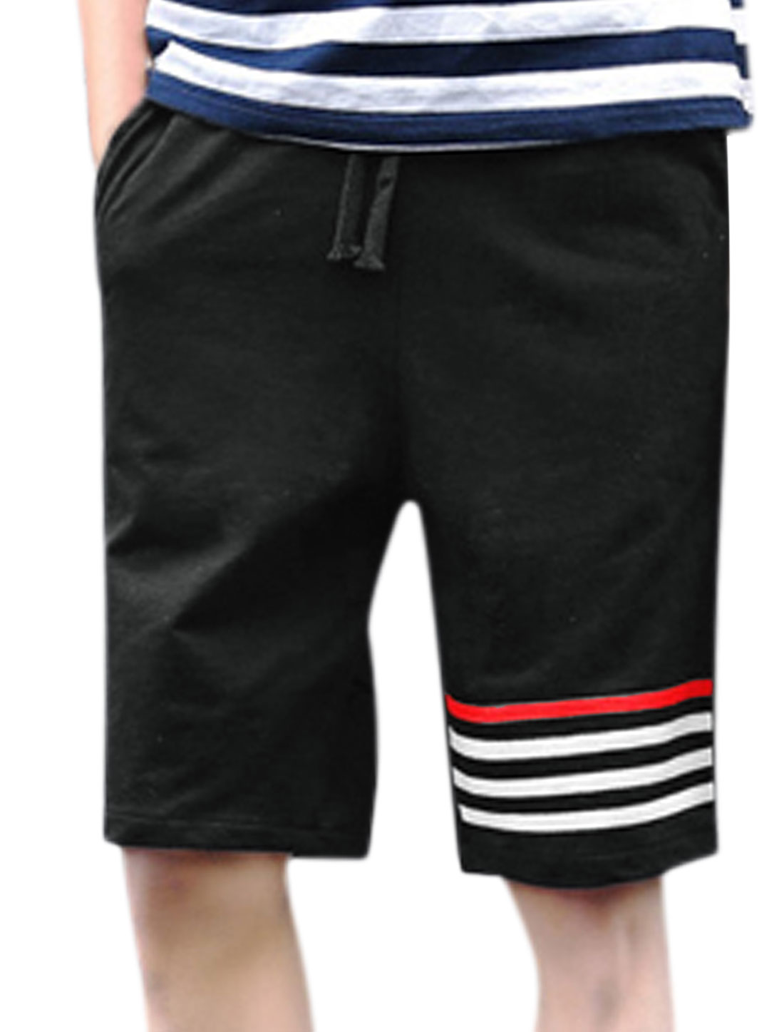 Men Drawstring Elastic Waist Stripes Sweat Shorts Black W30