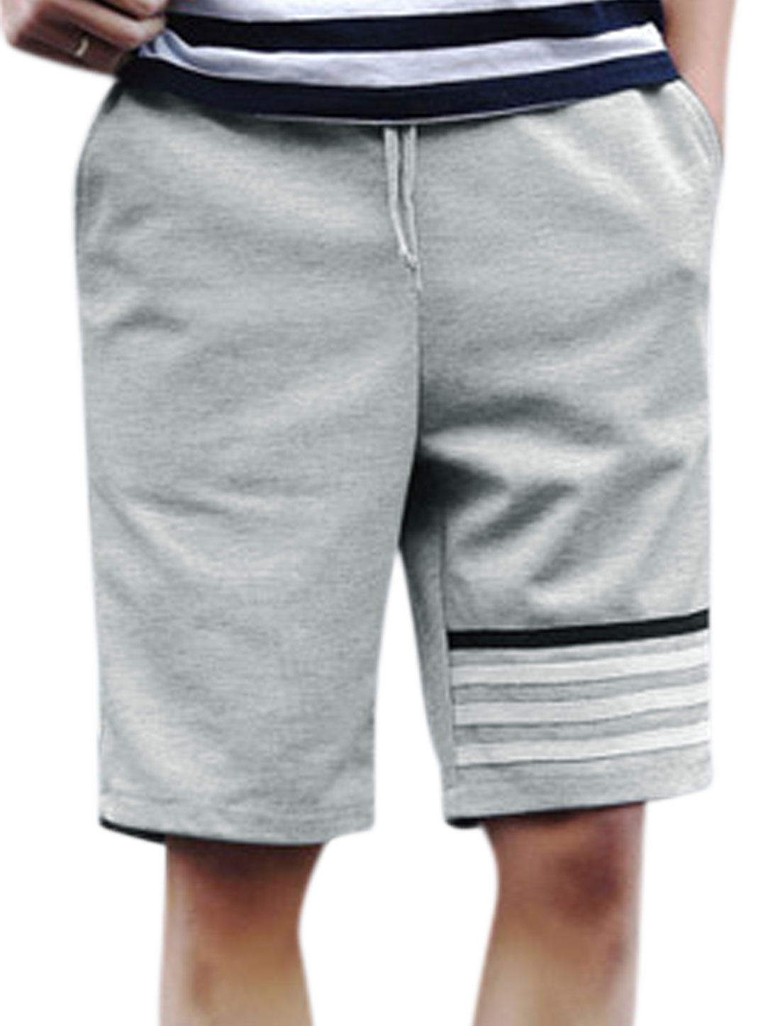 Men Drawstring Elastic Waist Stripes Sweat Shorts Gray W30