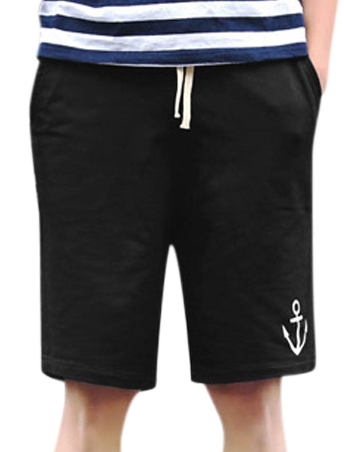 Men Drawstring Elastic Waist Anchor Pattern Sweat Shorts Black W30