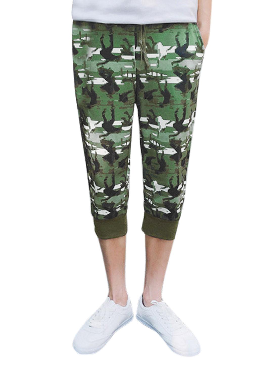 Men Novelty Prints Elastic Waist Jogger Capris Pants Green W30
