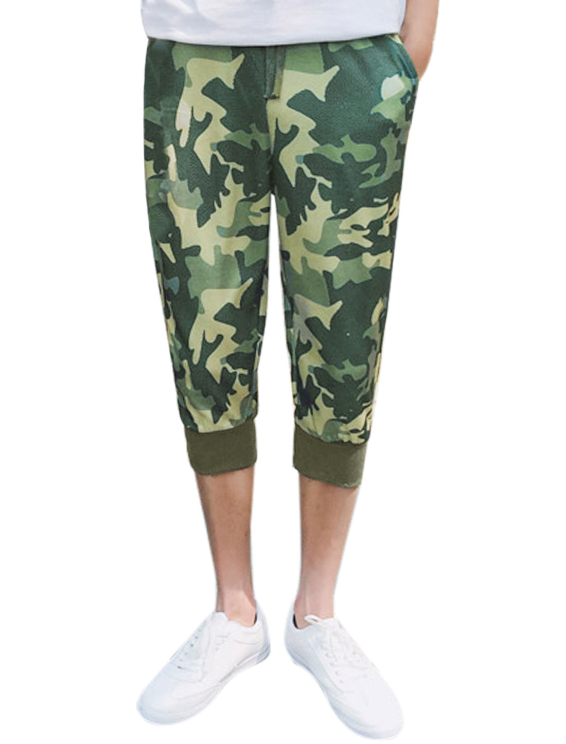 Men Camouflage Pattern Jogger Capris Pants Green W30