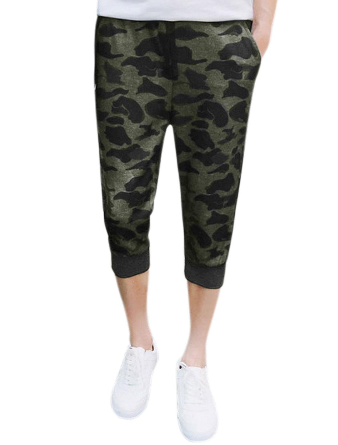 Men Leopard Prints Elastic Waist Jogger Capris Pants Green W30