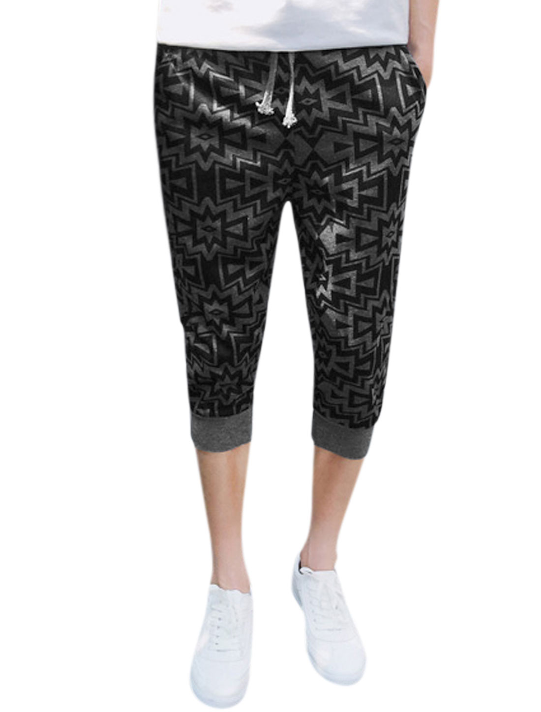 Men Geometric Prints Elastic Waist Jogger Capris Pants Gray W30