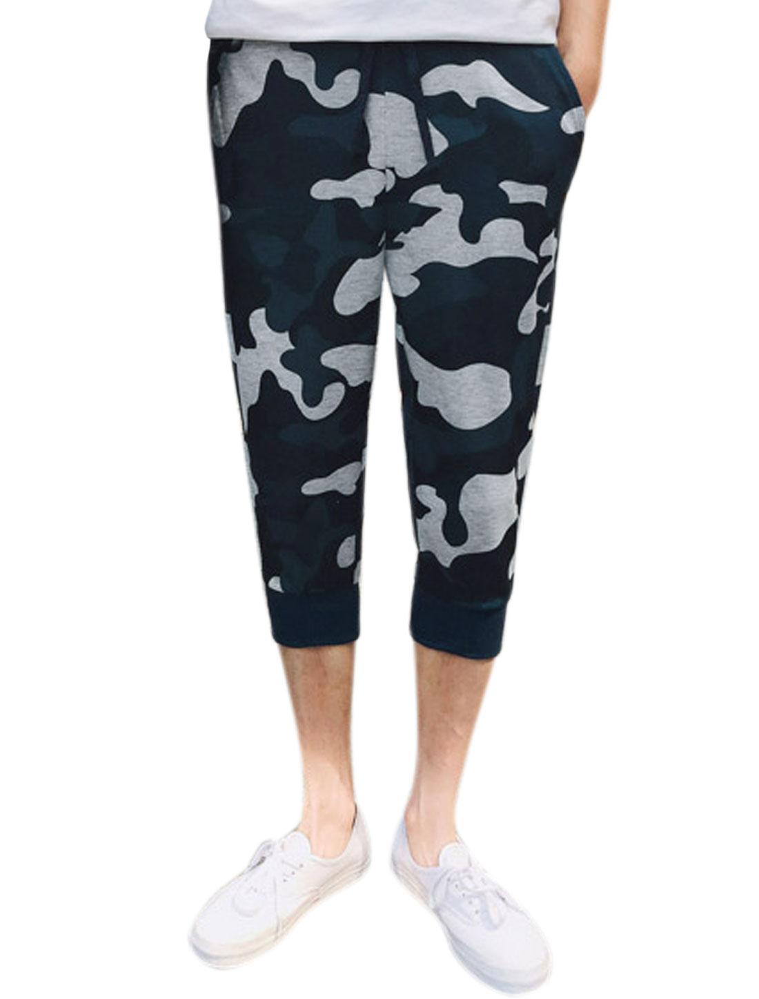 Men Camouflage Pattern Elastic Waist Jogger Capris Pants Blue W30