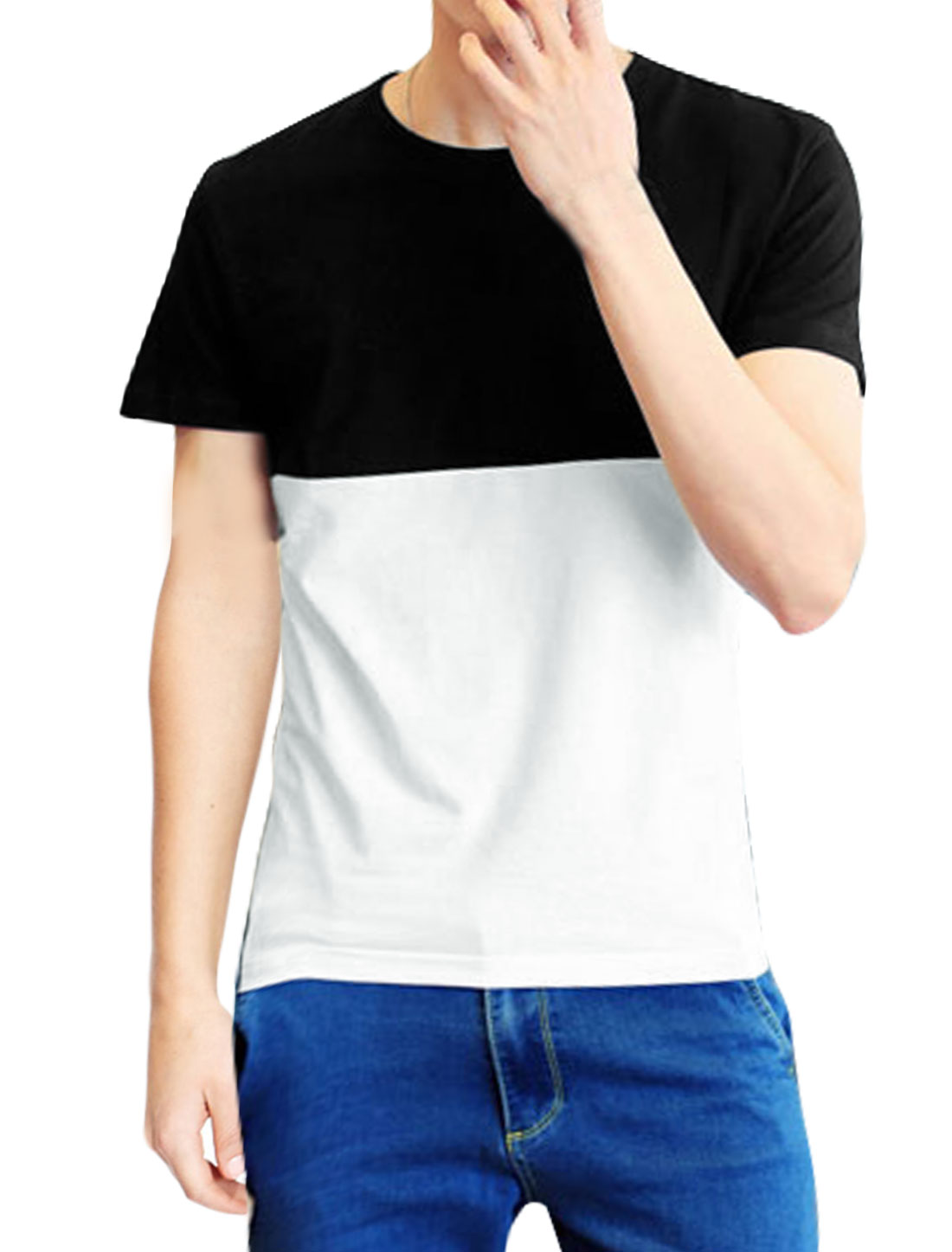 Men Round Neck Short Sleeves Slim Fit Contrast Color T-shirt Black M