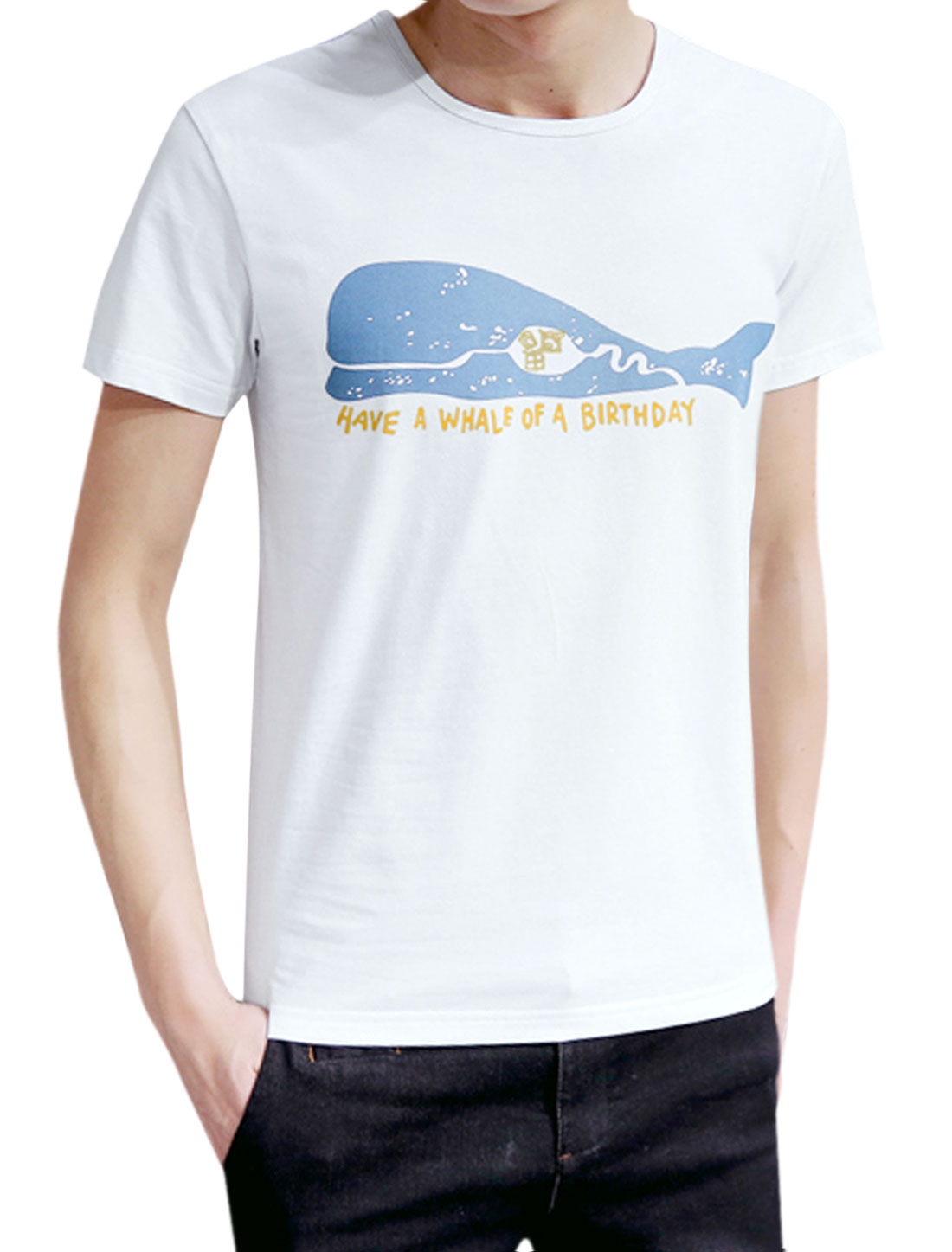 Men Round Neck Short Sleeves Slim Fit Whale Prints T-shirt White M