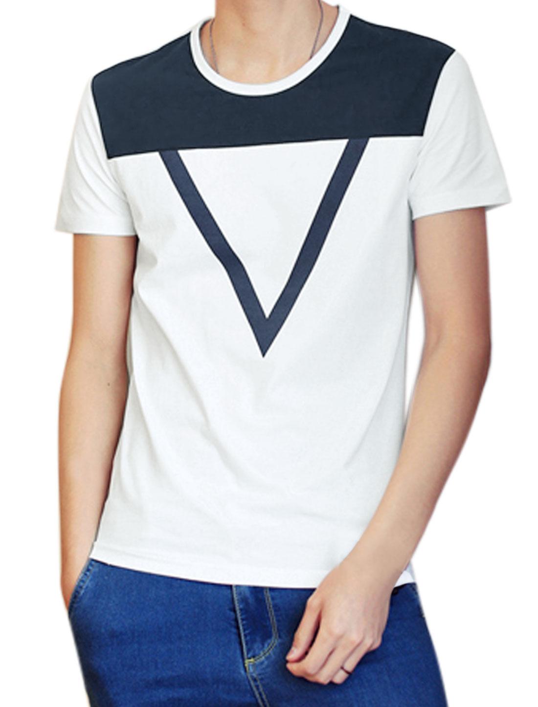 Men Round Neck Short Sleeves Slim Fit Triangle Prints Tee White M