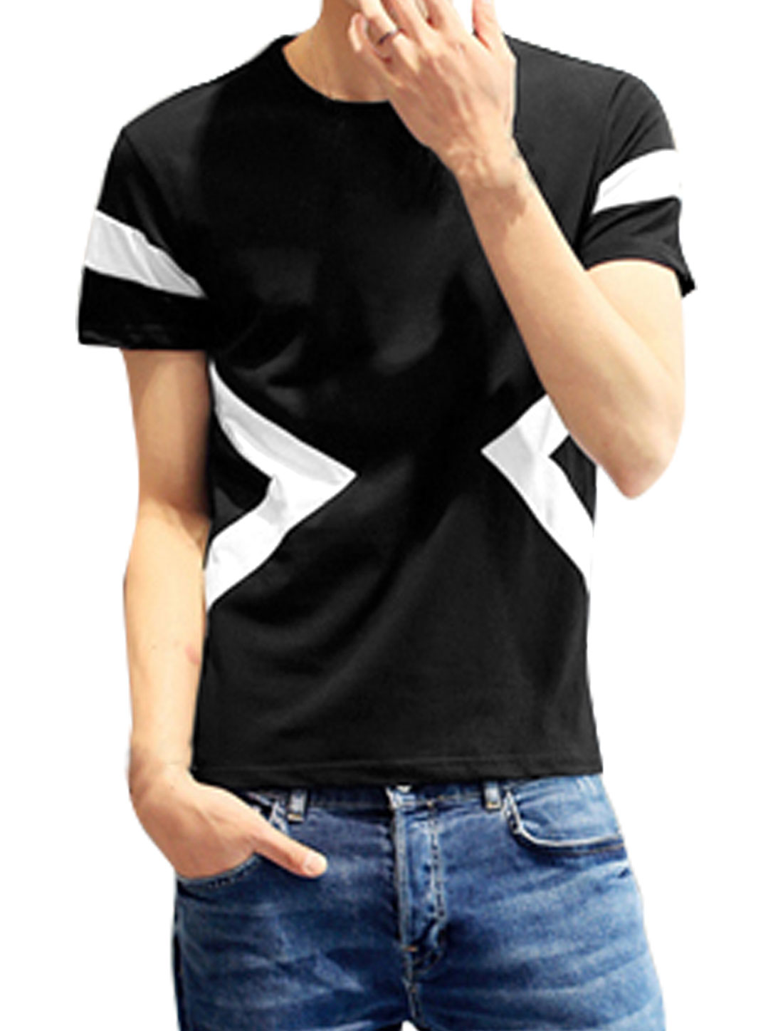 Men Crew Neck Short Sleeves Slim Fit Triangle Prints Tee Black M