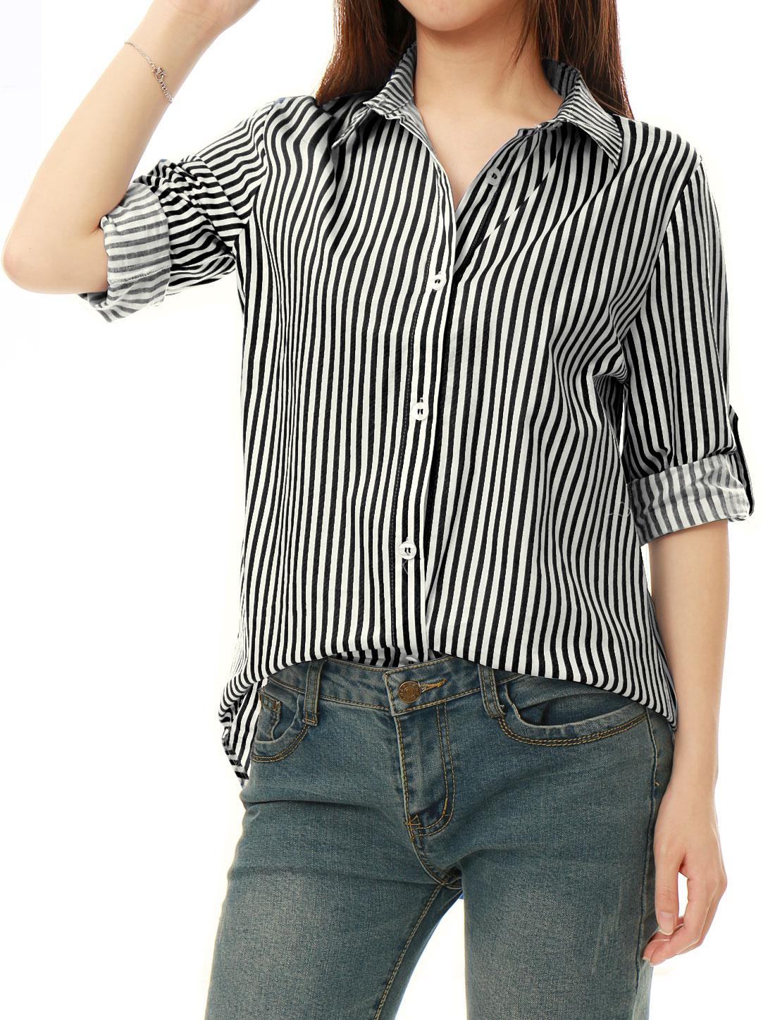 Allegra K Women Striped High Low Hem Roll Up Sleeves Shirt Black White L