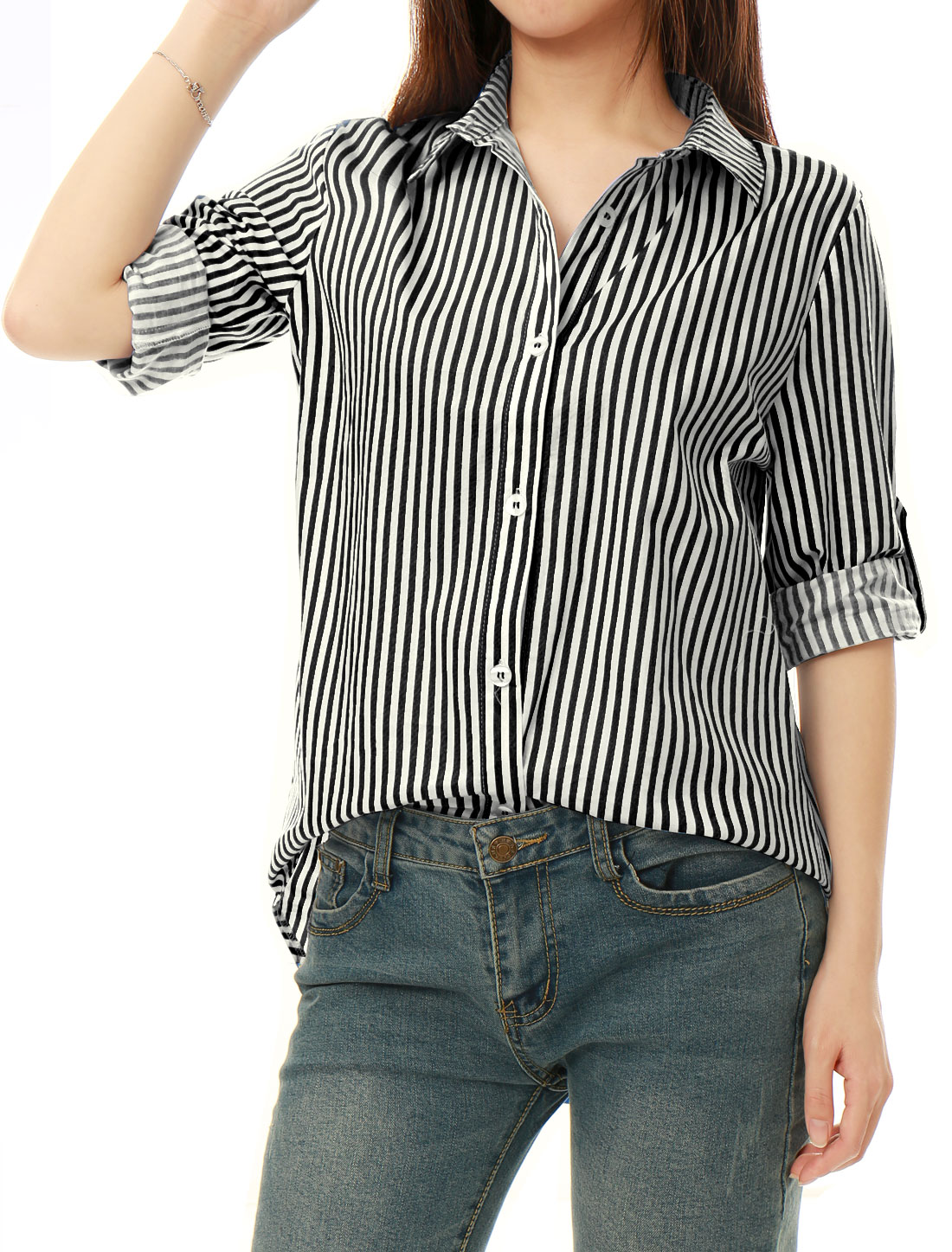 Women Striped High Low Hem Roll Up Sleeves Shirt Black White XL