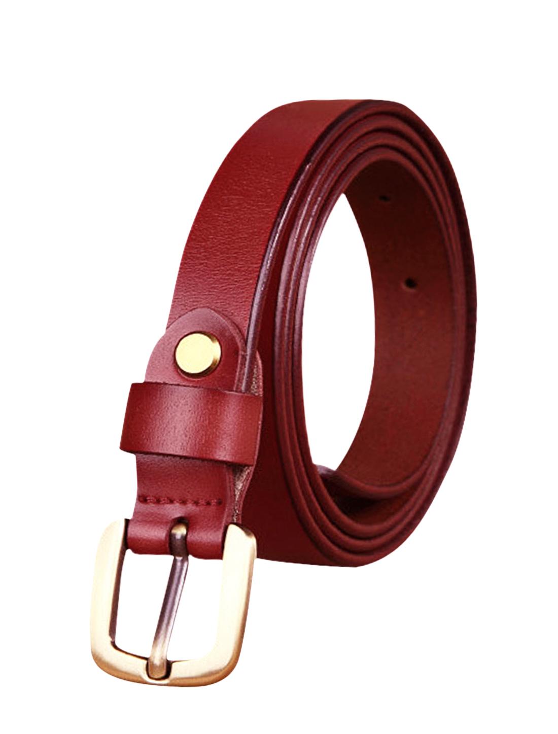 Women Single Pin Buckle Adjustable Skinny Waist Belt Warm Red 105CM