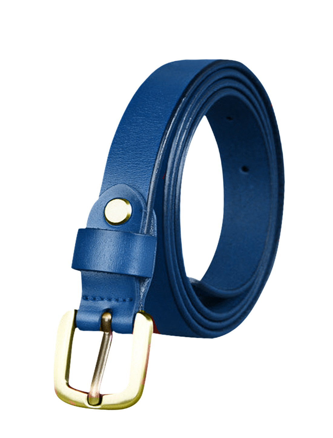 Women Single Pin Buckle Adjustable Skinny Waist Belt Blue 105CM