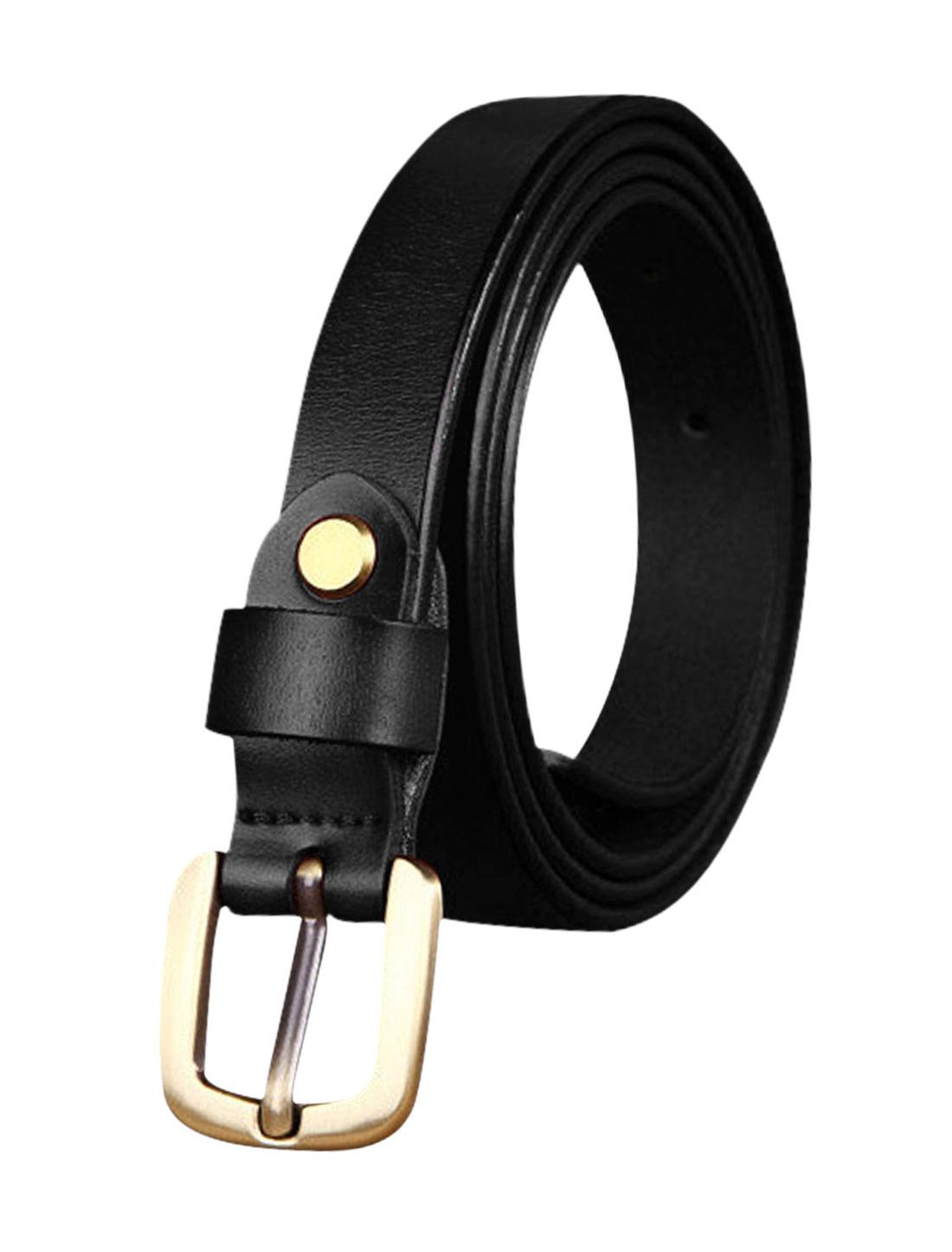 Women Single Pin Buckle Adjustable Skinny Waist Belt Black 110CM