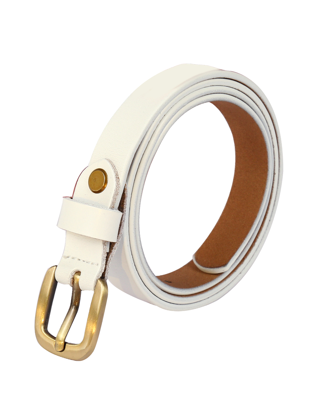 Women Single Pin Buckle Adjustable Skinny Waist Belt White 110CM