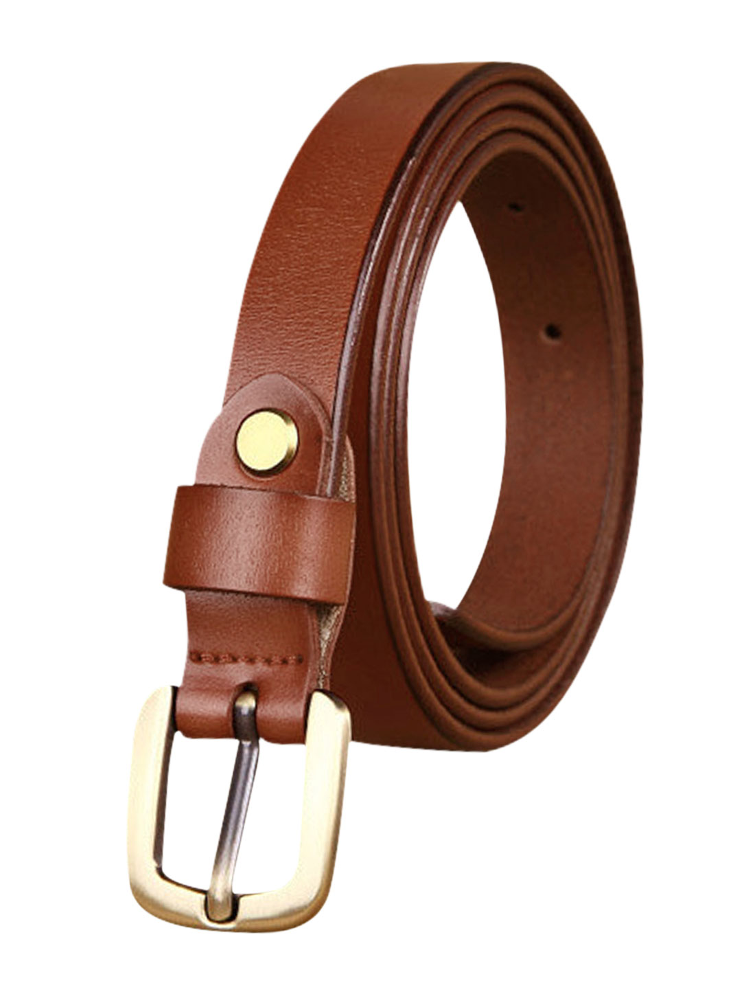 Women Single Pin Buckle Adjustable Skinny Belt Light Brown 105CM