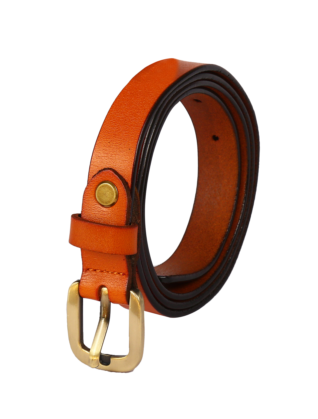Women Single Pin Buckle Adjustable Skinny Waist Belt Light Brown 110CM