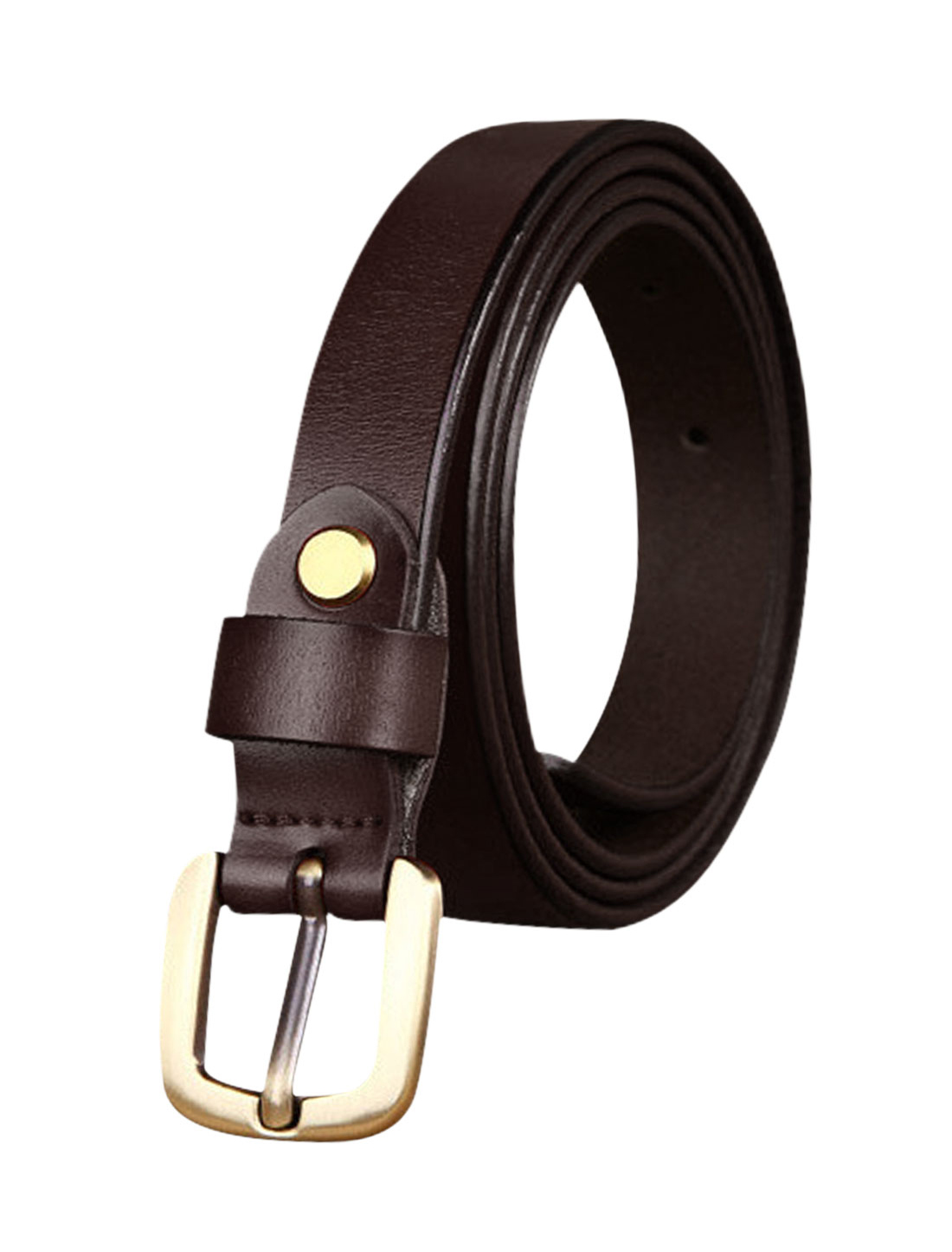 Women Single Pin Buckle Adjustable Skinny Waist Belt Dark Brown 105CM