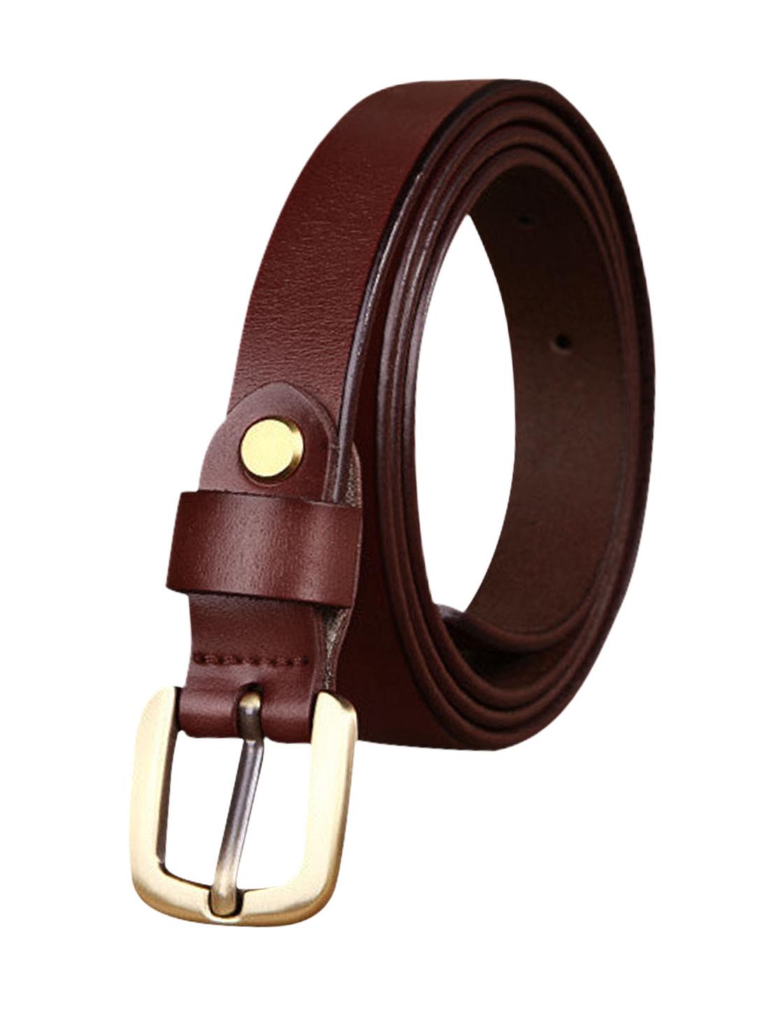 Women Single Pin Buckle Adjustable Skinny Waist Belt Burgundy 105 CM