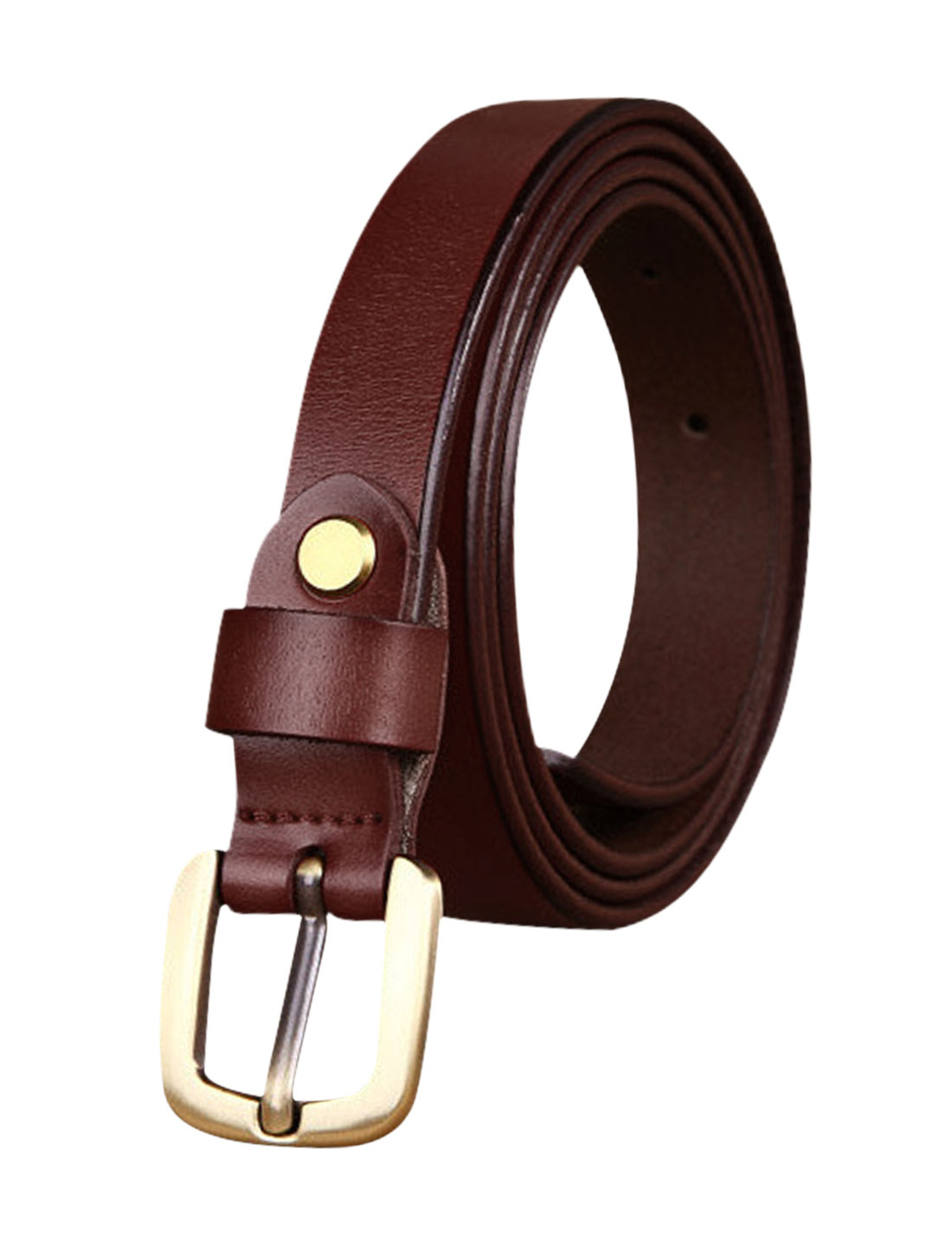 Women Single Pin Buckle Adjustable Skinny Waist Belt Burgundy 110CM