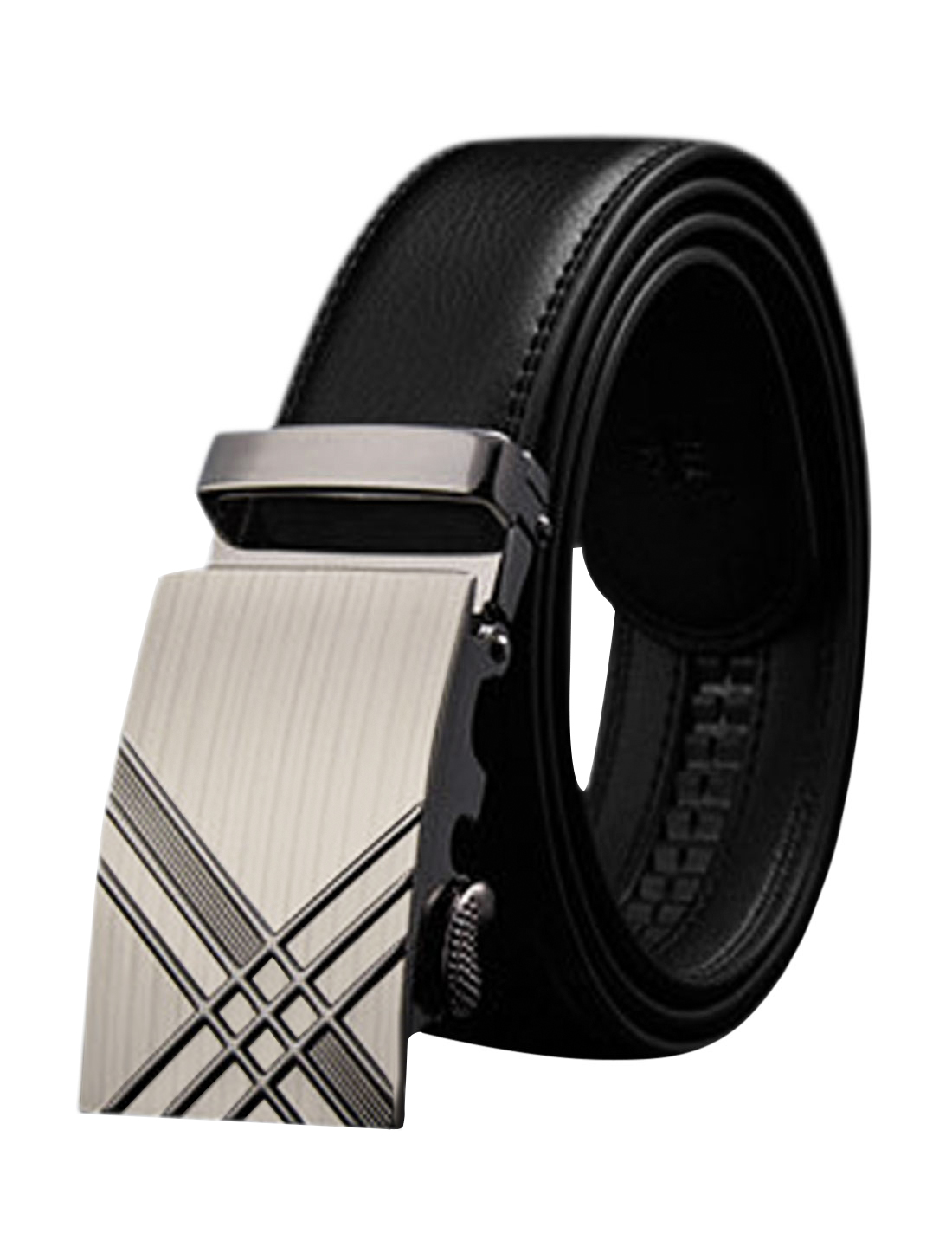 Men Automatic Buckle Holeless Stitched PU Ratchet Belt Black 110CM