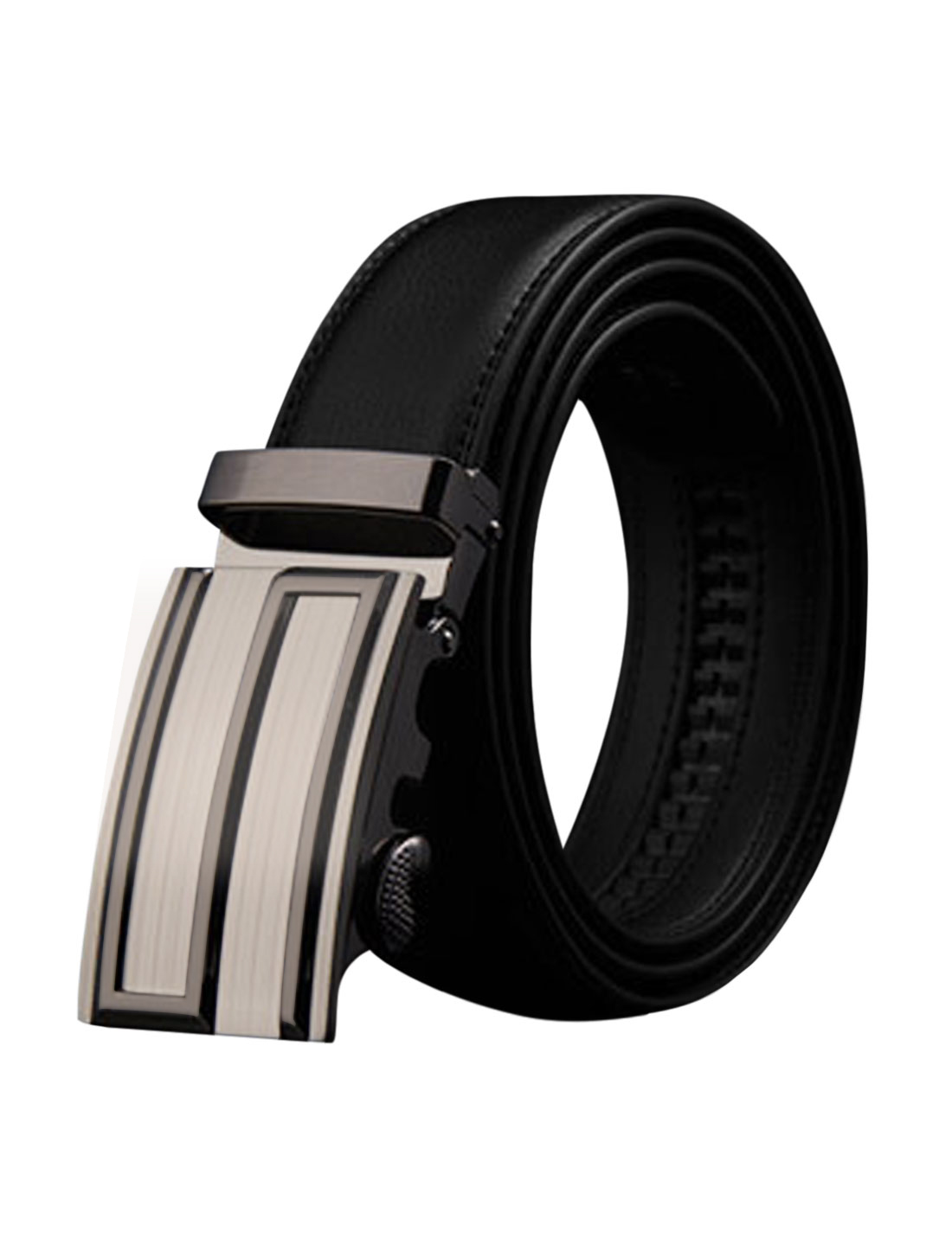 Man Automatic Buckle Holeless Stitched PU Ratchet Belt Black 110CM