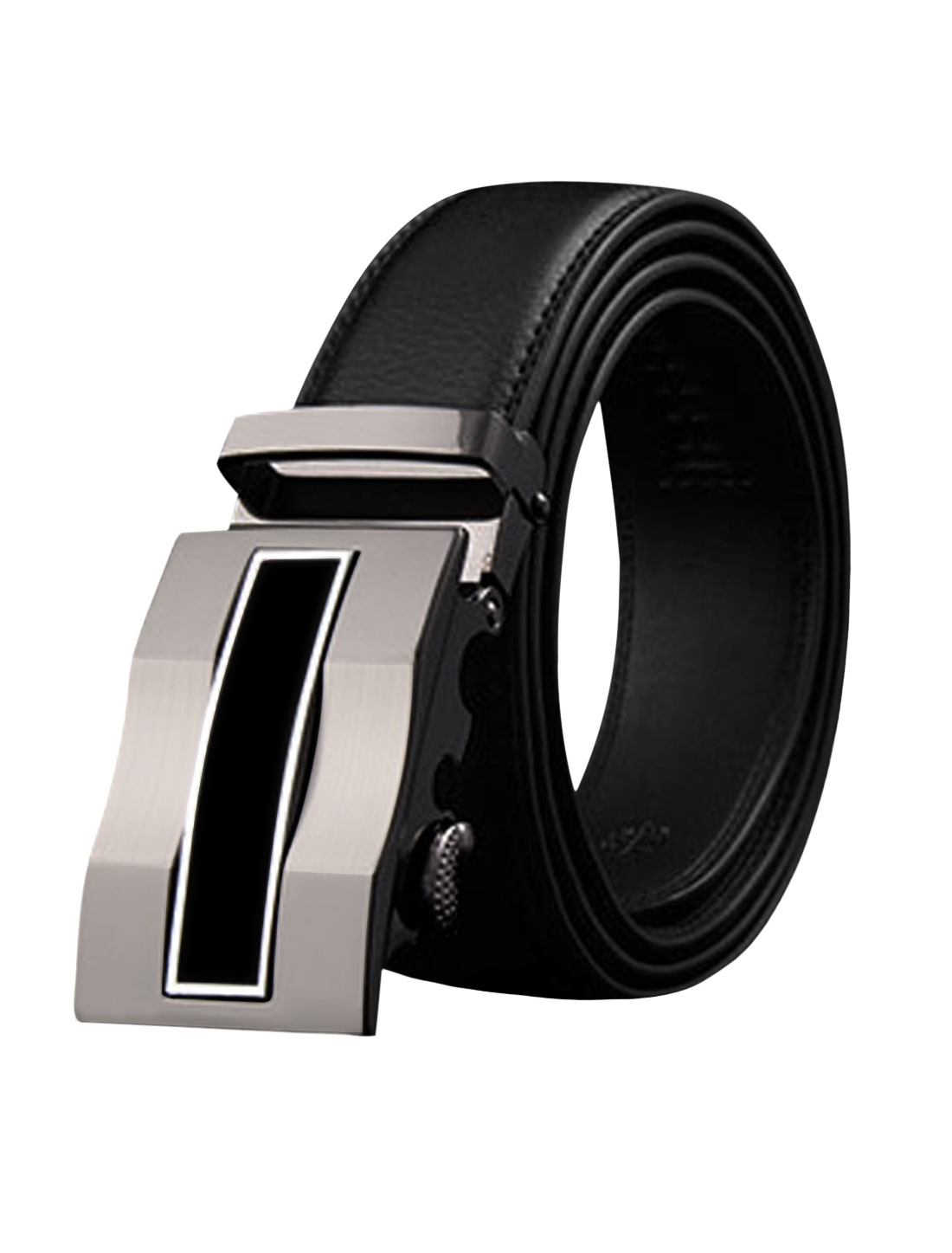 Man Automatic Buckle Holeless PU Stitching Ratchet Belt Black 115CM