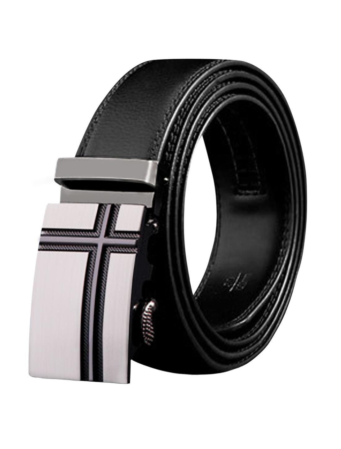 Men Automatic Buckle Holeless Stitching PU Ratchet Belt 110CM