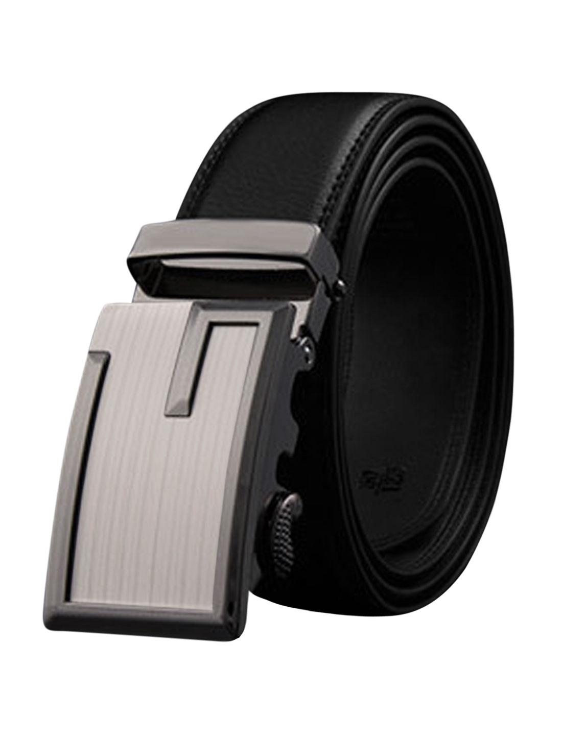 Man Automatic Buckle Adjustable Stitched PU Ratchet Belt Black 125CM