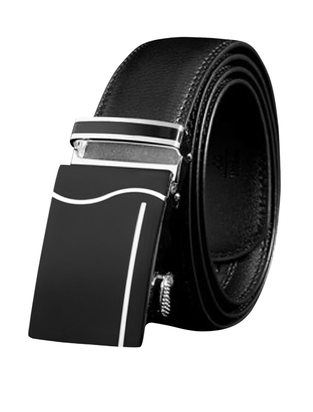Men Automatic Buckle Adjustable Stitched PU Ratchet Belt Black 115CM