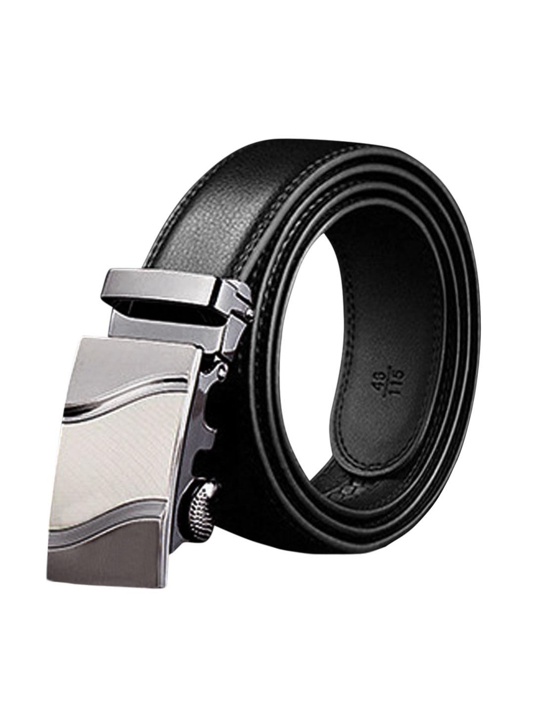 Man Automatic Buckle Holeless Adjustable PU Belt Black 110CM