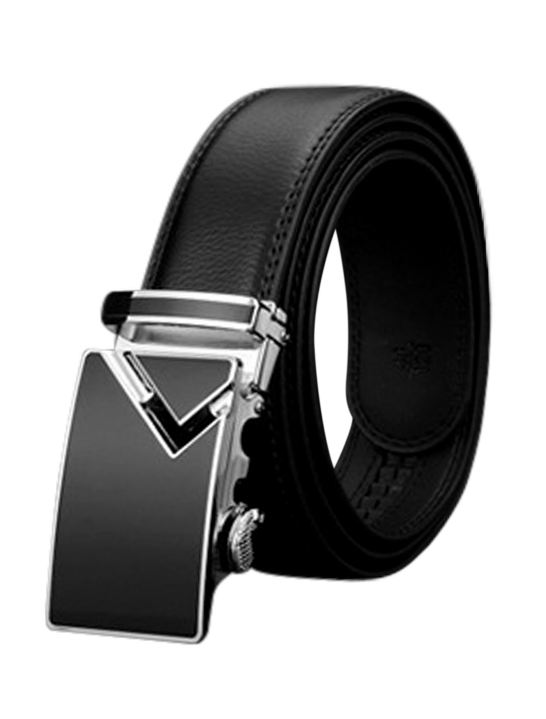 Man Sliding Buckle Holeless Adjustable PU Ratchet Belt Black 125CM