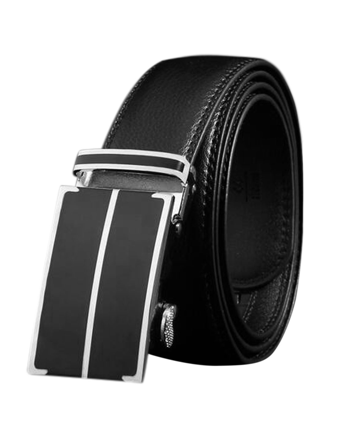Men Automatic Buckle Holeless Decorative Stitch PU Belt Black 115CM