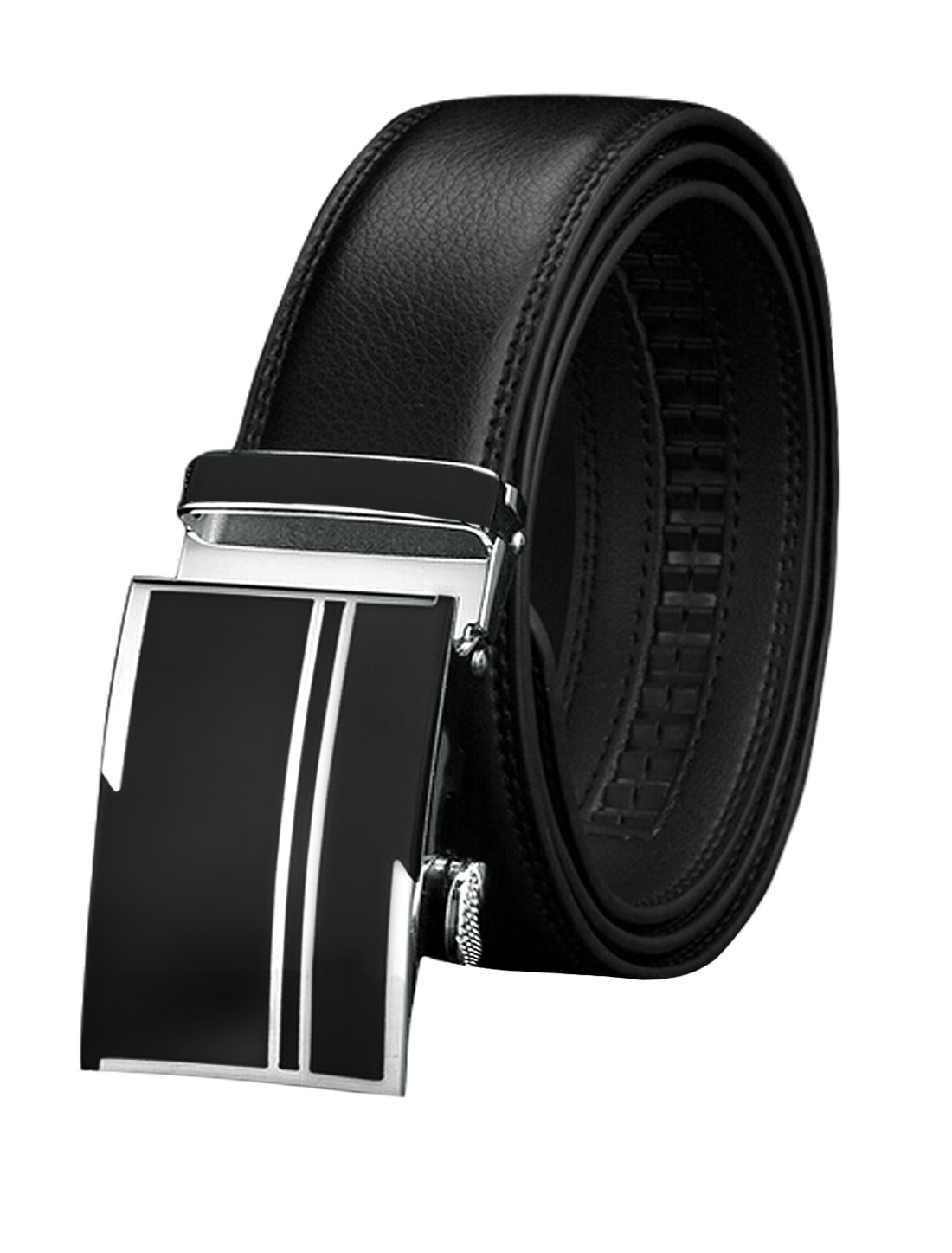 Men Sliding Buckle Decorative Stitch PU Ratchet Belt Black 110CM