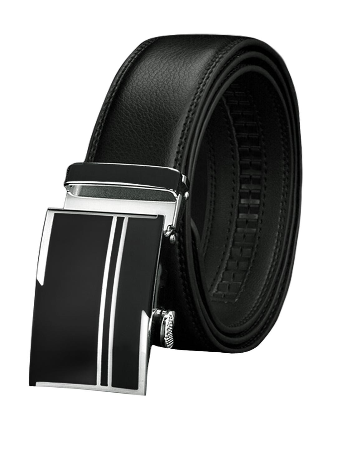 Men Sliding Buckle Decorative Stitch PU Ratchet Belt Black 115CM