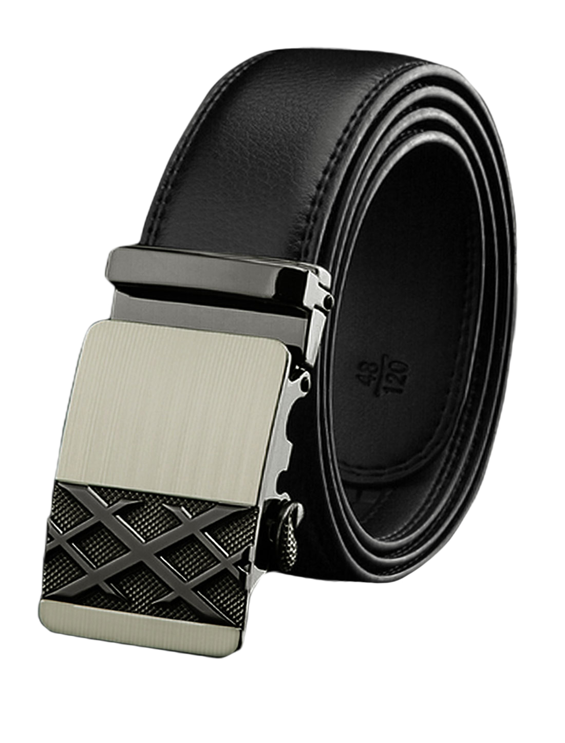 Man Sliding Buckle Decorative Stitch PU Ratchet Belt Black 110cm
