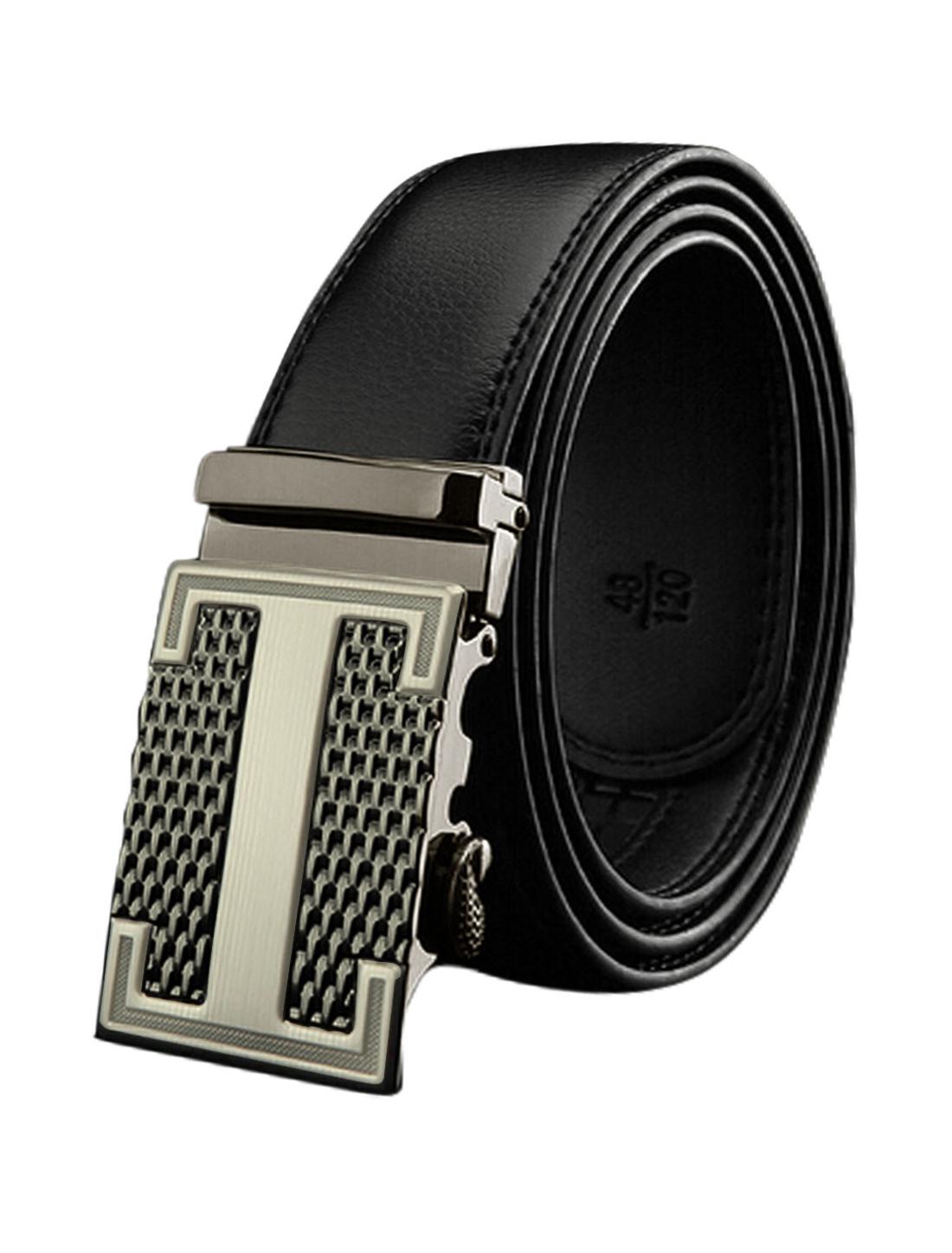 Man Automatic Buckle Holess Decorative Stitch PU Belt Black 110CM