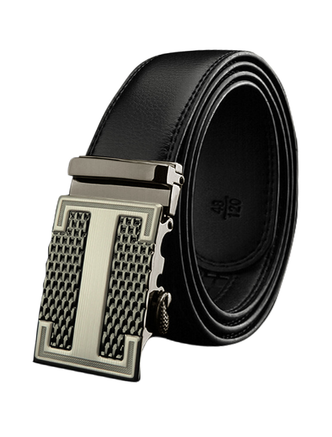 Man Automatic Buckle Holess Decorative Stitch PU Belt Black 115CM