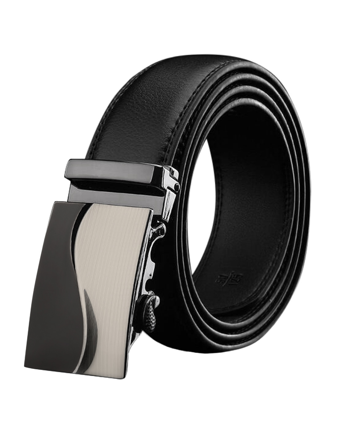 Man Automatic Buckle Adjustable Stitching PU Ratchet Belt Black 110CM