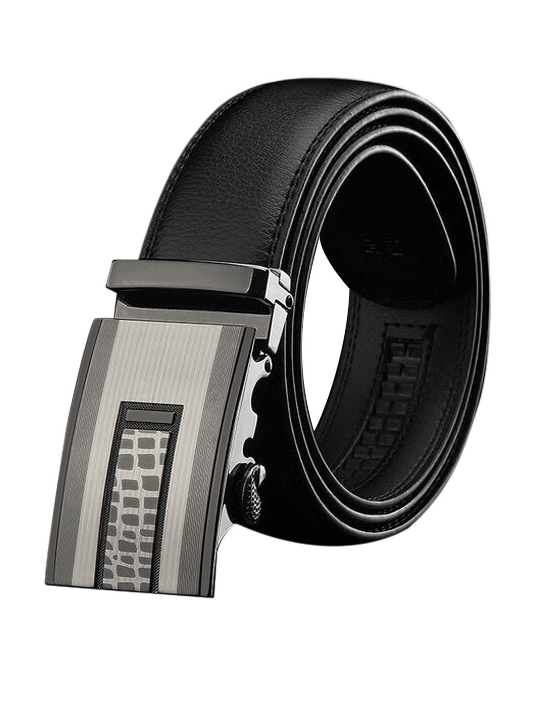 Man Automatic Buckle Adjustable Decorative Stitch PU Belt Black 120CM