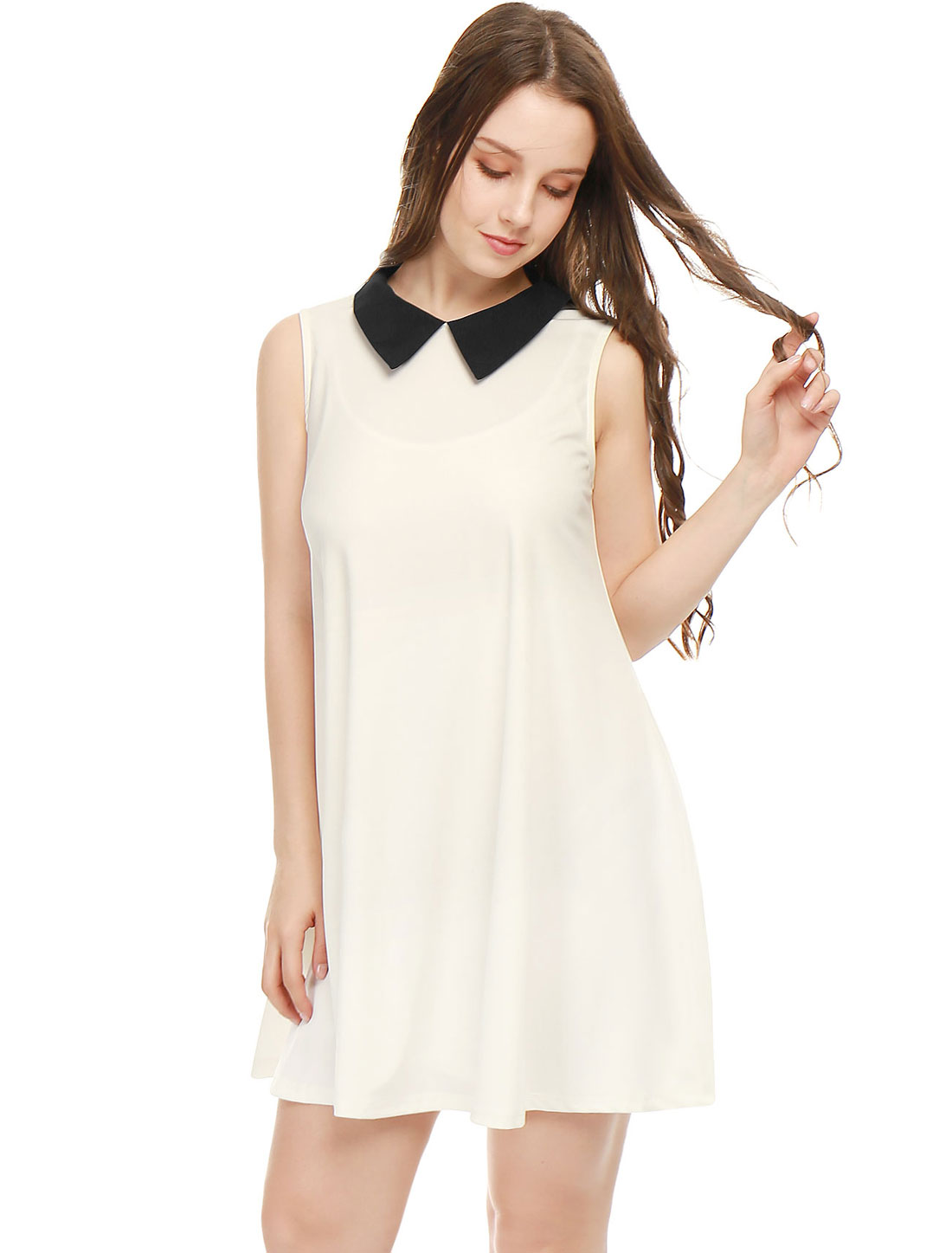 Women Contrast Color Peter Pan Collar Sleeveless Swing Dress White XS
