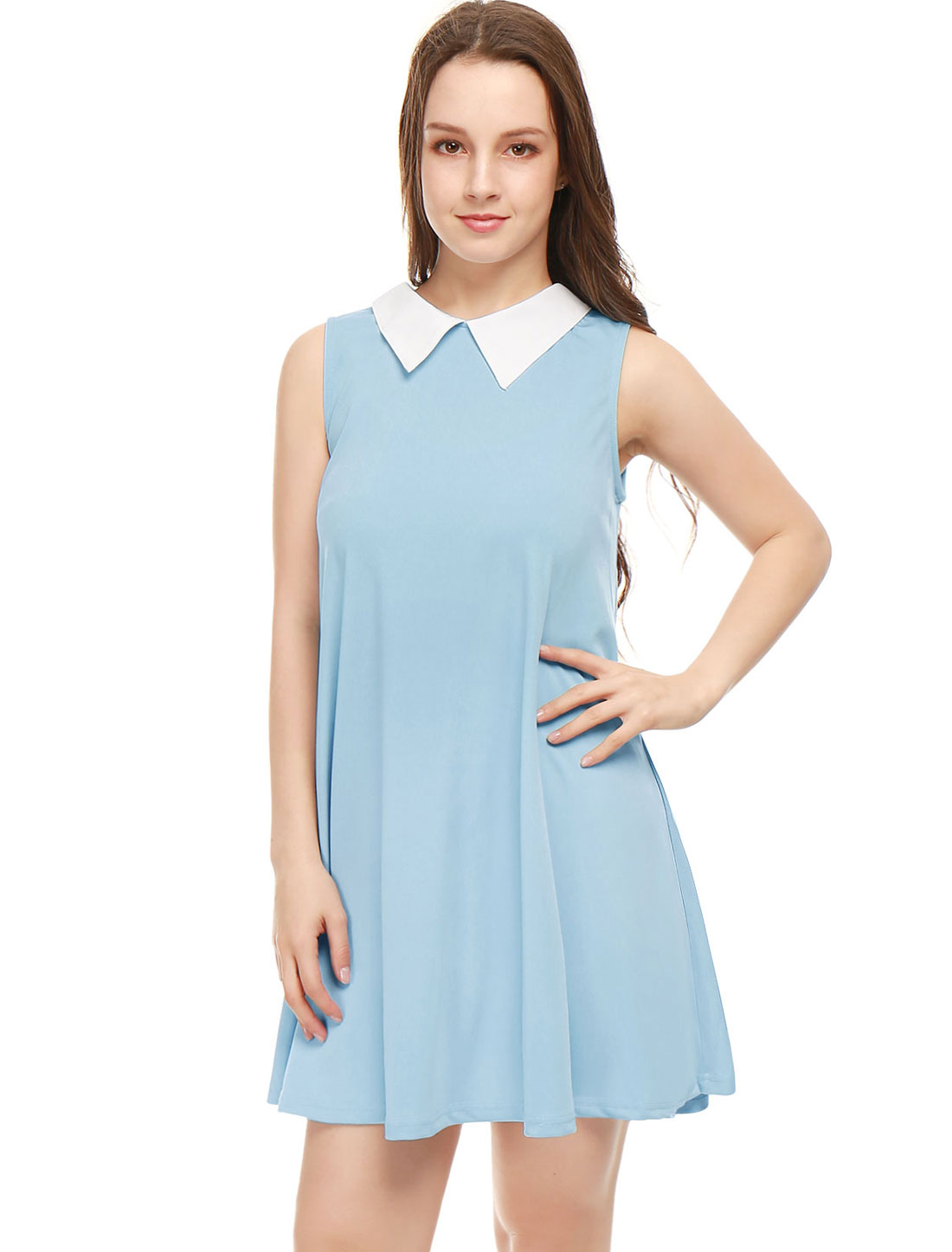 Women Contrast Color Peter Pan Collar Sleeveless Swing Dress Blue S