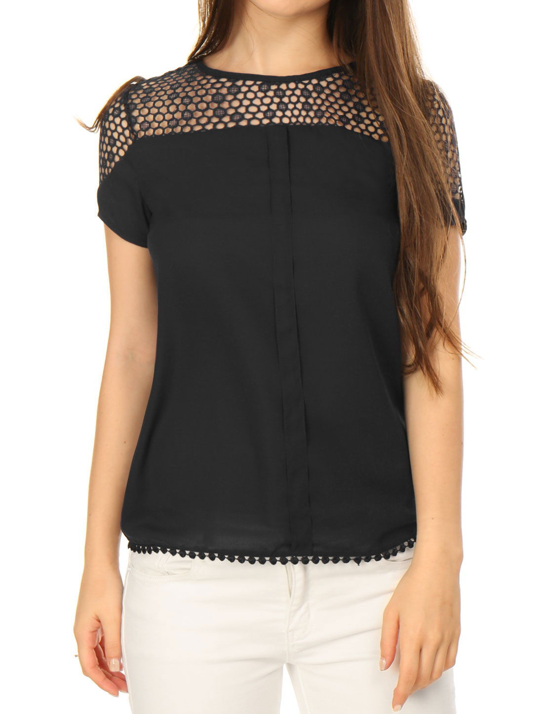 Women Short Sleeves Semi Sheer Placket Front Guipure Lace Top Black S