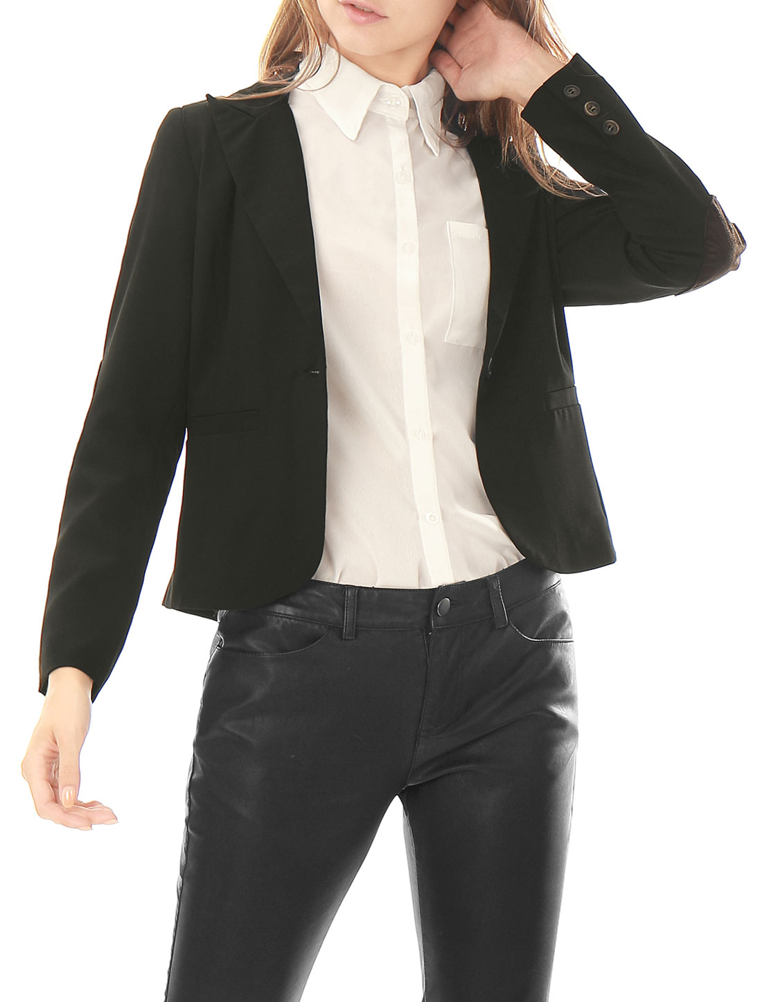 Women Peaked Lapel One-Button Elbow-Patch Blazer Black XS