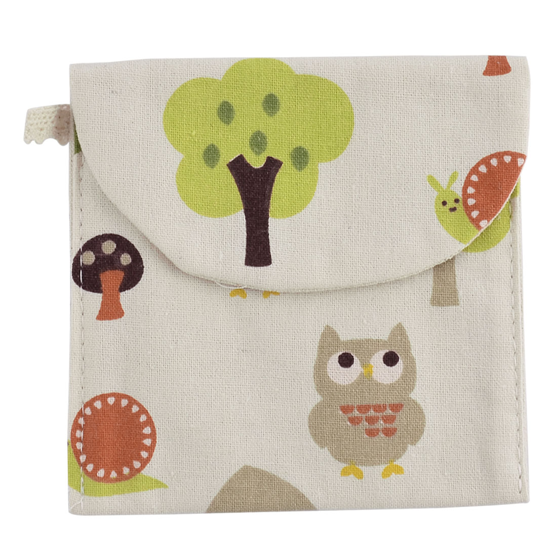 Linen Square Shape Tree Owl Snail Pattern Sanitary Towel Napkin Pad Bag