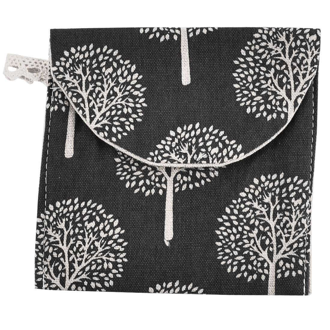 Linen Rectangle Tree Pattern Sanitary Towel Napkin Pad Bag Pouch Holder